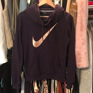 Purple Gold Check Nike Hoodie Cowl Funnel Neck S
